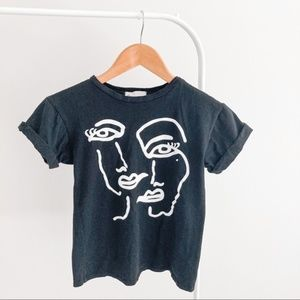 FRENCH PASTRY Black Face Line Drawing Tee